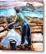 Collecting Salt At Xwejni Gozo Metal Print