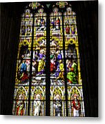 Cologne Cathedral Stained Glass Window Of St Peter Metal Print