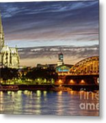Cologne Cathedral With Rhine Riverside Metal Print