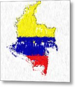 Colombia Painted Flag Map Metal Print