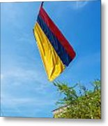 Colombian Flag And Blue Sky Metal Print