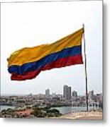Colombian Flag Over Cartagena Metal Print