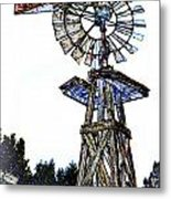 Color Drawing Antique Windmill 3005.05 Metal Print