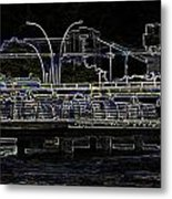 Color Pencil - Visitors On Viewing Plaza On Singapore River Next To The Merlion Metal Print