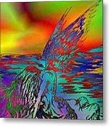 Color Tempest Angel On Rocks Metal Print