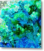 Color Wash Abstract In Blue Metal Print