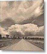 Colorado Country Road Sepia Stormin Skies Metal Print