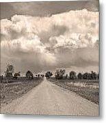 Colorado Country Road Stormin Sepia  Skies Metal Print