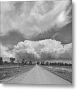 Colorado Country Road Stormin Skies Bw Metal Print