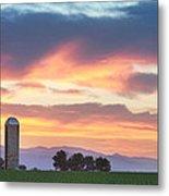 Colorado Farmers Sunset Metal Print