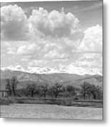 Colorado Front Range Rocky Mountains Panorama Bw Metal Print