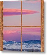 Colorado Moon Sunrise Barn Wood Picture Window View Metal Print