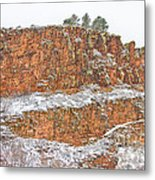 Colorado Red Sandstone Country Dusted With Snow Metal Print