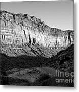 Colorado River Cliff Bw Metal Print