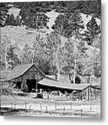 Colorado Rocky Mountain Barn Bw Metal Print