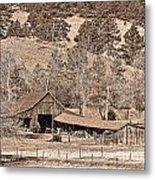 Colorado Rocky Mountain Barn Sepia Metal Print