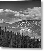 Colorado Ski Slopes In Black And White Metal Print