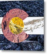 Colorado State Flag With Mountain Textures Metal Print