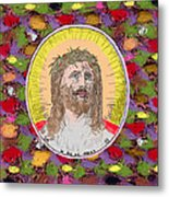 Colored Background Jesus Metal Print