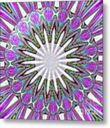 Colored Foil Lily Kaleidoscope Under Glass Metal Print