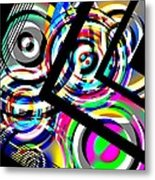 Colored Lines And Circles Art Over Black Metal Print by Mario Perez
