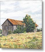 Colored Pencil Barn Metal Print