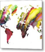 Colored World Map Metal Print