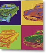 Colorful 1958  Ford Thunderbird Car Pop Art Metal Print