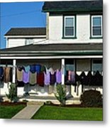 Colorful Amish Laundry On Porch Metal Print