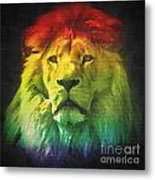 Colorful Artistic Portrait Of A Lion On Black Background  Metal Print