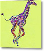 Colorful Baby Giraffe Metal Print