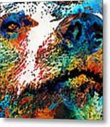 Colorful Bear Art - Bear Stare - By Sharon Cummings Metal Print