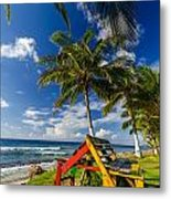 Colorful Bench On Caribbean Coast Metal Print