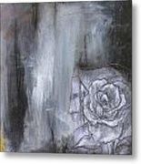 Colorful Black And White Rose Metal Print