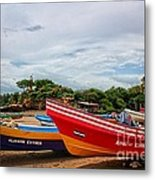 Colorful Boats And Lighthouse Metal Print