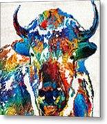 Colorful Buffalo Art - Sacred - By Sharon Cummings Metal Print
