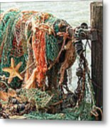 Colorful Catch - Starfish In Fishing Nets Metal Print