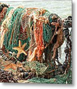 Colorful Catch - Starfish In Fishing Nets Square Metal Print