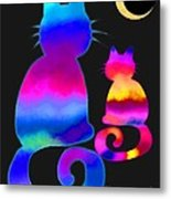 Colorful Cats And The Moon Metal Print