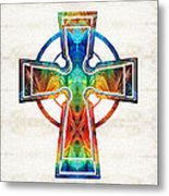 Colorful Celtic Cross By Sharon Cummings Metal Print