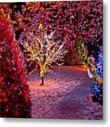 Colorful Christmas Lights On Trees Metal Print