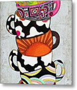 Colorful Coffee Cups Mugs Hot Cuppa Stacked I By Romi And Megan Metal Print by Megan Duncanson