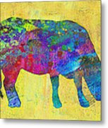 Colorful Cow Abstract Art Metal Print