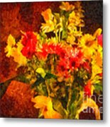 Colorful Cut Flowers - V2 Metal Print