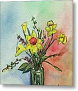 Colorful Daffodil Flowers In A Vase Metal Print by Prashant Shah