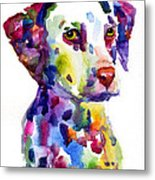 Colorful Dalmatian Puppy Dog Portrait Art Metal Print