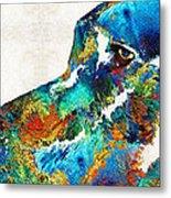 Colorful Dog Art - Loving Eyes - By Sharon Cummings  Metal Print