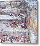 Colorful Fall Leaves Autumn Stone Steps Old Mentone Inn Alabama Metal Print
