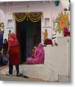 Colorful Family Gathering Ancestral Home Udaipur Rajasthan India Metal Print