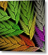 Colorful Feather Fern - Abstract - Fractal Art - Square - 1 Tl Metal Print